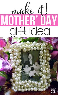Repurpose an old frame and a new or vintage necklace to create this pretty frame to give a mom as a  Mother's Day gift. It makes a great teacher gift, too.  | In My Own Style