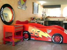 Kid's Bedroom Decor Idea – Race Cars and Racing Car Bedroom, Kids Bedroom, Bedroom Decor, Toddler Rooms, Baby Boy Rooms, Cama Cars, Lightning Mcqueen Bed, Kids Car Bed, Race Car Bed