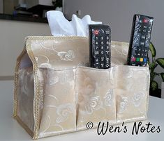 DIY Tissue Box Cover with Pockets | Wen's Notes