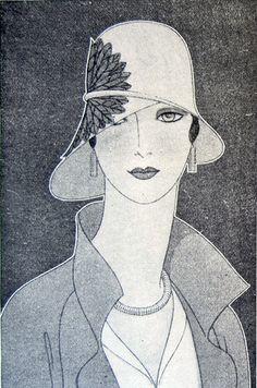 An asymmetrical straw hat by Reboux, illustrated in Delineator, April Dynevor Rhys, Illustration. Face Illustration, Fashion Illustration Vintage, Moda Vintage, Vintage Art, Face Sketch, 1920s Art, Dance Art, Art Deco Design, Illustrations Posters