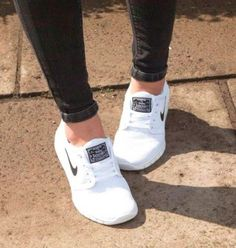 Nike white Air Max Thea- Nike running shoes http://www.justtrendygirls.com/nike-running-shoes/
