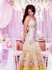 An original Design House Decor Indian bridal fashion editorial. The designers collaborated with many vendors using blush tones, crystal accents, and draping to create a vintage inspired paradise.