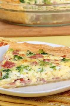 Ham and Broccoli Quiche 1 Pillsbury® refrigerated pie crust, softened as directed on box 1 1⁄2 cup cooked ham, cubed 1 1⁄2 cup cheese, swiss, shredded 1 cup frozen broccoli, florets, thawed, well drained on paper towel 4 egg 1 cup milk 1⁄2 tsp salt 1⁄2 tsp dry ground mustard 375 for 35-45 minutes 1⁄2 tsp black pepper, ground