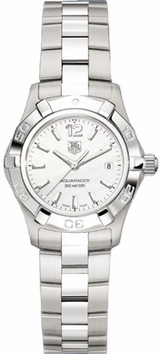 WAF1414.BA0823 NEW TAG HEUER AQUARACER 2000 WOMENS LUXURY WATCH IN STOCK - Hassle free returns thru Jan 31st - FREE Overnight Shipping | Lowest Price Guaranteed - NO SALES TAX (Outside California)- WITH MANUFACTURER SERIAL NUMBER - White Mother of Pearl Dial- Battery Operated Quartz Movement- 3 Year Warranty- Guaranteed Authentic- Certificate of Authenticity- Scratch Resistant Sapphire Crystal- Polished with Brushed Steel Case