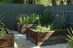 Railway sleeper garden beds.