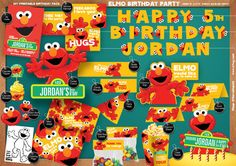 Sesame Street Elmo - Personalized Printable Birthday Party Pack - DIY - including Invitation, streamer, yard sign, party hat and much more