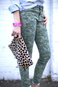 f4267fca6ab Digital leggins, cheetah-clutch, chambray top ( rolled sleeves) Animal Print  Clutches