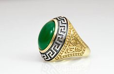Danelian, Mens Signet Ring. Statement Jewelry. Goldsmith Made with all ring sizes available. Sterling silver or solid gold material with emerald decoration at top. Check our link and ask for your coupon.