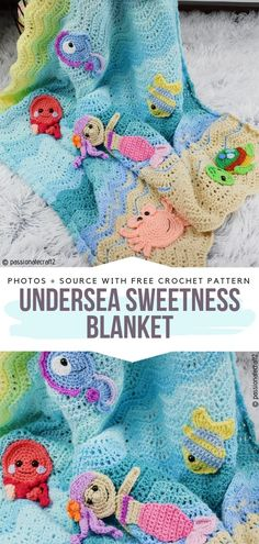 Undersea Sweetness Blanket Free Crochet Pattern This lovely wave stitch blanket is adorned with appliques of fish, octopus, mermaids and other underwater creatures. Knitting TechniquesKnitting For KidsCrochet Hair StylesCrochet Baby hair underwater Crochet Mermaid Blanket, Crochet Baby Blanket Free Pattern, Free Crochet, Crochet Hats, Booties Crochet, Crochet Wave Pattern, Crochet Fish Patterns, Mermaid Baby Blanket, Crochet Mermaid Tail