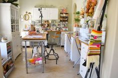 Rae Missigman's studio. Great use of storage with drawers and shelves. #Sewing #room #organization