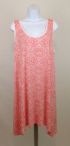 Soma Intimates XL Nightgown Nightshirt Sleeveless Coral & White Fluer de Lis  #SomaIntimates #Sleepshirt
