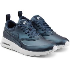 Nike Air Max Thea Premium Leather Sneakers (€155) ❤ liked on Polyvore featuring shoes, sneakers, blue, urban shoes, urban sneakers, blue sneakers, leather sneakers and blue shoes