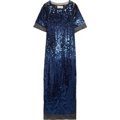 By Malene Birger Lines sequined stretch-mesh maxi dress ($480) ❤ liked on Polyvore featuring dresses, blue, sequin cocktail dresses, maxi dresses, evening cocktail dresses, maxi slip and sequin dresses