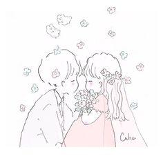 CahoさんはInstagramを利用しています:「君と幸せになりたいと思うのです。 #illust #illustrator #illustration #イラスト」 Girly Drawings, Cute Kawaii Drawings, Kawaii Cute, Cute Love Memes, Cute Art Styles, Anime Love Couple, Pen Art, Pretty Art, Cute Illustration