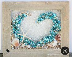 Seashell Art, Seashell Crafts, Beach Crafts, Sea Glass Crafts, Creation Deco, Diy Resin Crafts, Crushed Glass, Beach Wall Art, Window Art