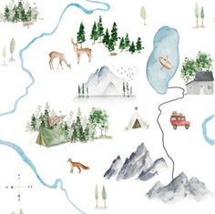 The Mountains are Calling // White fabric by hipkiddesigns on Spoonflower - custom fabric Woodland Fabric, Forest Nursery, Lovey Blanket, The Mountains Are Calling, Kona Cotton, Security Blanket, Fabric Material, Custom Fabric, Spoonflower