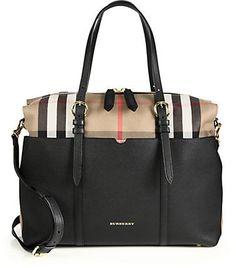 Burberry Mason Leather & Check Baby Bag