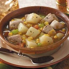Pork Green Chili Stew Recipe -Green chilies add a little spice to this flavorful pork stew that also features corn, potatoes and tomatoes. Green Chili Pork Stew, Mexican Pork Stew, Green Chile Stew, Pork Recipes, Cooker Recipes, Mexican Food Recipes, Cat Recipes, Yummy Recipes, How To Cook Chili