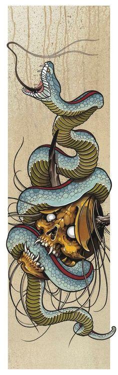 23 Bold and Badass Snake Tattoo Ideas for Women - Best Tattoos Skull Tattoos, Body Art Tattoos, Sleeve Tattoos, Japanese Tattoo Art, Japanese Art, Tattoo Sketches, Tattoo Drawings, Hannya Maske, Petit Tattoo