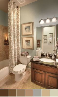 111 World`s Best Bathroom Color Schemes For Your Home. I like the shower curtain hanging from the ceiling