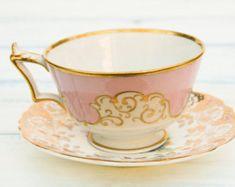 Vintage Saucer & Pink Teacup, Gold Floral Small Plate + Mismatched China Tea Cup, Mismatched Antique Tea Party