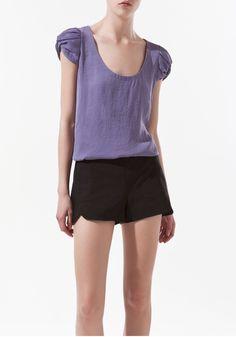 Purple Ruffle Scoop Neck Cap Sleeve Cotton Blouse