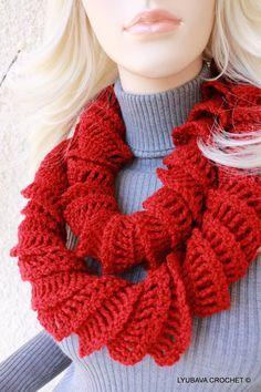Crochet Ruffle Scarf Red Scarf Crochet Double by crochetlyubava, $45.00