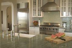 Green granite, white kitchen