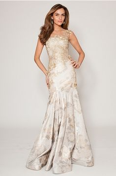 Gold Jacquard Trumpet Gown