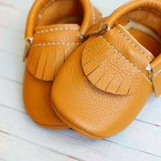 Butterscotch Gold Leather Baby Moccasins