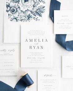 Wedding Invitation Set with Silk Ribbon