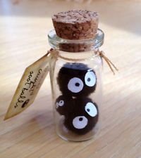 REDUCED!! Sootball Mini Glass Bottle Family Soot Sprite soot ball Ghibli Totoro