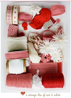 collect red & white ribbon, lace, yarn and use to decorate gifts wrapped in brown paper (like paper grocery bags).