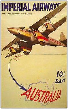 Imperial Airways 1930 Australia Vintage Poster Art Print Travel Airlines