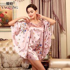 RB028 Summer Sexy Silk Nightgown Sleepshirts Women Short-sleeves Sleepwear Lounge Casual Satin Silk Nightwear Female Dress