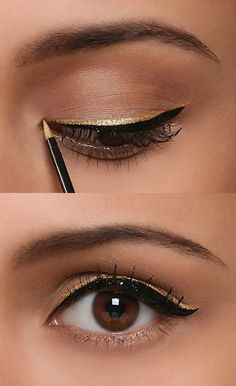 Mascara+black eyeliner+golden eyeliner = this beautiful look; I have the perfect gold eyeliner from Mary Kay! Gold Eyeliner, Apply Eyeliner, Eyeliner Brown Eyes, Best Black Eyeliner, Bottom Eyeliner, Eyeliner Types, Easy Eyeliner, Smokey Eyeliner, Makeup Eyes