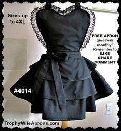 Apron # 4014 - All black handmade hostess apron