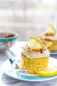Lemon coconut cakes @dessertfortwo