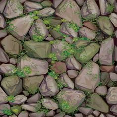 Vector seamless texture of stones in grey colors covered moss. Texture Mapping, 3d Texture, Game Textures, Textures Patterns, Stone Texture Wall, Hand Painted Textures, Seamless Textures, Creative Thinking, Texture Painting