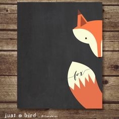 Fox Art Printable -  Nursery Decor, fox nursery printable, chalkboard printable fox print, nursery decoration,fox art print-INSTANT DOWNLOAD...