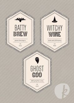 Hello, Halloween Printable Beverage Labels