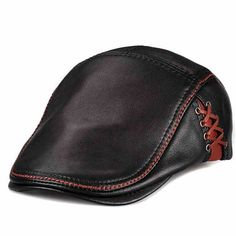 LETHMIK Unique Flat Cap Hunting Cowhide Leather Driver Ivy Cap Newsboy Hat Leather Hats, Cowhide Leather, Leather Men, Black Leather, Black Metal, Mens Newsboy Hat, News Boy Hat, Flat Cap, Cool Hats
