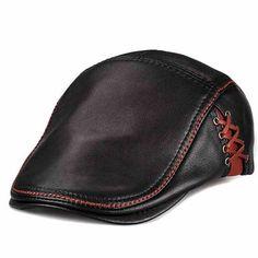 LETHMIK Unique Flat Cap Hunting Cowhide Leather Driver Ivy Cap Newsboy Hat Leather Hats, Cowhide Leather, Leather Men, Mens Newsboy Hat, News Boy Hat, Flat Cap, Cool Hats, Mens Caps, Leather Working
