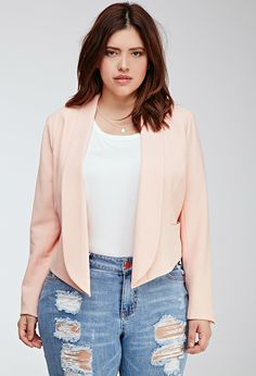 Plus Size Blazer - FOREVER 21+ Textured Shawl Collar Blazer