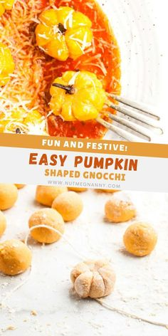Looking for an adorable fall dinner? You have to try these super cute pumpkin shaped gnocchi! Fresh pumpkin gnocchi shaped into little mini pumpkins and served swimming in sauce. This is peak fall!