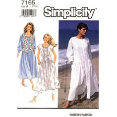 Simplicity 7165 Loose Dress Pattern Front Tucks Drop Waist & Vest Size 6 to 24 Plus Included