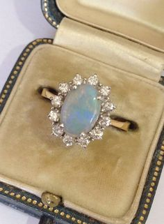 Beautiful Black Opal And Diamond Ring by KatherinesLondon on Etsy