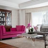 Merigo Design - living rooms - hardwood floors, diamond patterned rug, diamond motif rug, diamond sisal rug, lucite coffee table, acrylic co...