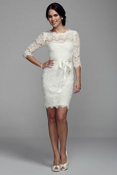 Short Lace Dress with 3/4 Sleeves XS6160. Another reception idea