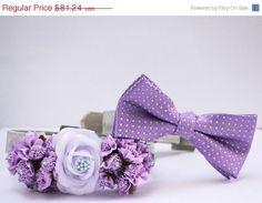 Lavender and Lilac wedding dog collar, 2 dog collars, Floral dog collar and Lilac dog bow tie, Pet wedding accessory, Lavender wedding